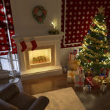 Traditional xmas fireplace. Cozy decorated christmas fireplace at night with tree, presents and couch Stock Photos