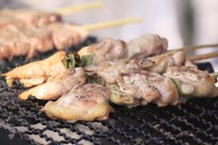 Traditional yakitori chicken stand Stock Image