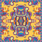 Traditional yellow ornamental floral paisley Royalty Free Stock Image