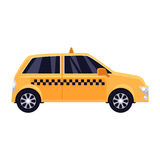 Traditional yellow taxi with checker pattern Stock Images