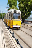 Traditional yellow tram in central Budapest Stock Photos