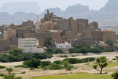 Traditional Yemeni mud brick buildings town, Hadramaut, Yemen. Royalty Free Stock Image