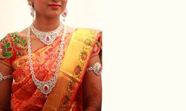 Traditional Young bride in wedding dress, south Indian wedding rituals royalty free stock photo
