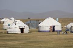 Traditional Yurt Camp at Song Kul Lake in Kyrgyzstan. Asia Stock Image