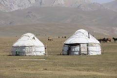 Traditional Yurt Camp at Song Kul Lake in Kyrgyzstan. Asia Stock Images