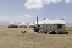 Traditional Yurt Camp at Song Kul Lake in Kyrgyzstan. Central asia royalty free stock photo