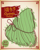 Traditional Zongzi for Duanwu Festival in Hand Drawn Style, Vector Illustration Royalty Free Stock Photo