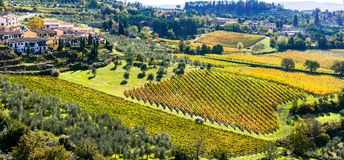 Traditionall landscapes and villages of Tuscany. Chianti vi Royalty Free Stock Images