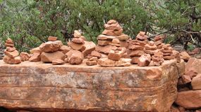 Cairns in Boynton Canyon. Traditionally, cairns have been used as a trail marker, but have recently become a nuisance. Sedona, Arizona red rocks and landscape stock images