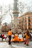 Traditionally Catalan show is human tower built traditionally in festivals at Catalonia stock photo