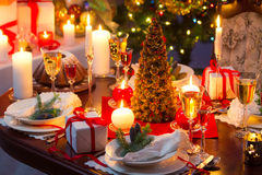 Traditionally decorated christmas table Royalty Free Stock Photos