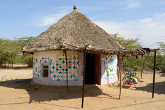 Traditionally decorated hut in India Stock Photography