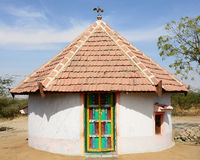 Traditionally decorated hut in India Stock Image