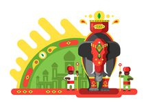 Traditionally decorated Indian elephant. Animal and culture asian, mammal ethnic color decoration, vector illustration Royalty Free Stock Photo