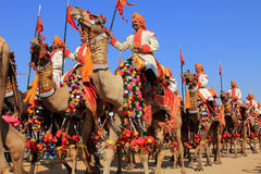 Traditionally dressed  border security people. Traditionally dressed border security people ride camels to attend a cultural procession for the Desert festival Stock Photo