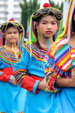 Traditionally dressed children in procession on Chiang Mai 37th Royalty Free Stock Photo