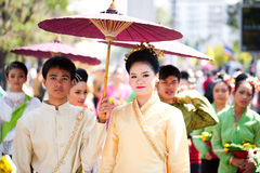 Traditionally dressed couple Stock Images
