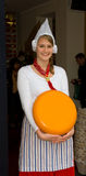 Traditionally dressed Dutch cheese seller Royalty Free Stock Photos