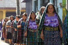 Traditionally dressed mayan women in guatemala. March 25,2016 San Pedro la Laguna, Guatemala: tzutujil mayan women dressed traditionally during Easter Stock Image