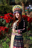 Traditionally dressed Mhong hill tribe woman in the garden. At mountain royalty free stock photography