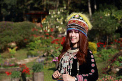 Traditionally dressed Mhong hill tribe woman in the garden. At mountain royalty free stock photos