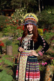 Traditionally dressed Mhong hill tribe woman in the garden Royalty Free Stock Images