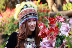 Traditionally dressed Mhong hill tribe woman in the garden. At mountain stock image