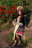 Traditionally dressed Mhong hill tribe woman in the garden royalty free stock photos