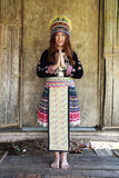 Traditionally dressed Mhong hill tribe woman pay respect Stock Photo