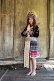 Traditionally dressed Mhong hill tribe woman pay respect Stock Images
