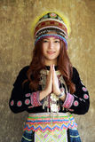 Traditionally dressed Mhong hill tribe woman pay respect Stock Photos