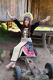 Traditionally dressed Mhong hill tribe woman Stock Photo