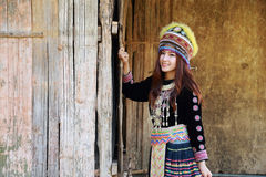 Traditionally dressed Mhong hill tribe woman Royalty Free Stock Image
