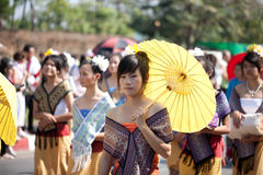 Traditionally dressed people on Chiang Mai Royalty Free Stock Images