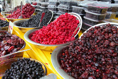Traditionally Dried and Processed Sour Plums Cherries and Forest Fruits Stock Image