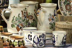 Handcrafted pots from Romania. Traditionally handcrafted pottery from Romania Stock Photos