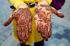 Traditionally henna painted hands Royalty Free Stock Photo