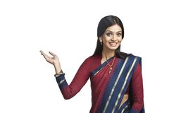 Traditionally Indian woman gesturing Royalty Free Stock Photography