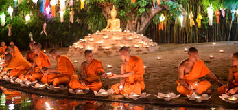 Traditionally monks light floating balloons made of paper at Wat Phan Tao temple Royalty Free Stock Photography