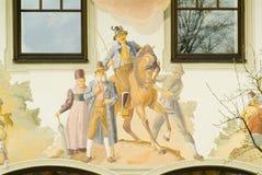 Traditionally painted Bavarian house Stock Photo