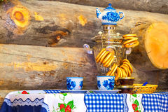 Traditionally  Russian samovar on the table Royalty Free Stock Image
