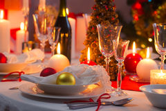 Traditionally set table for Christmas Eve Stock Photo