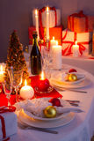 Traditionally set table for Christmas Eve Royalty Free Stock Images