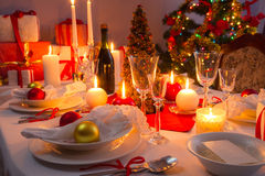 Traditionally set table for Christmas Eve Royalty Free Stock Image