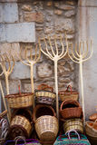 Traditionals baskets and cereal wooden forks in Maestrazgo Royalty Free Stock Photos