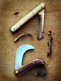 Traditionals grafting knives Royalty Free Stock Images