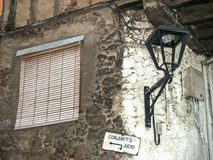 Traditionals window and lantern on jewish neighborhood in Hervas, Spain Royalty Free Stock Images