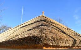 Traditioneel Afrikaans met stro bedekt dak tegen een blauwe hemel stock afbeeldingen