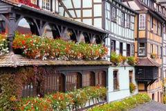 Traditioneel betimmerd huis in tenger Frankrijk, Straatsburg, de Elzas Royalty-vrije Stock Foto