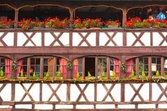 Traditioneel betimmerd huis in tenger Frankrijk, Straatsburg, de Elzas, Stock Foto's